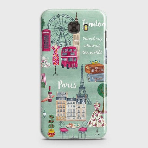 Samsung C7 Pro - London, Paris, New York Modern Printed Hard Case With Life Time Colors Guarantee