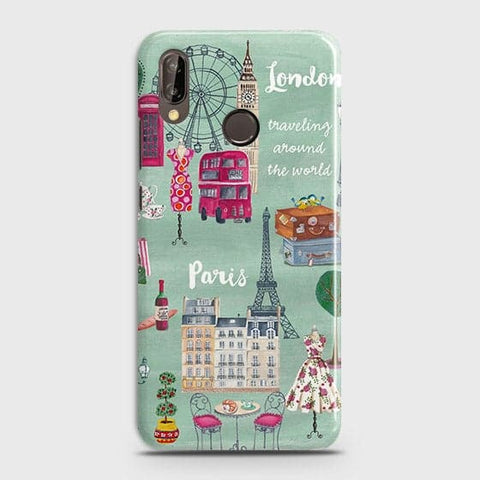 Huawei P20 Lite - London, Paris, New York Modern Printed Hard Case Life Time Colors Guarantee