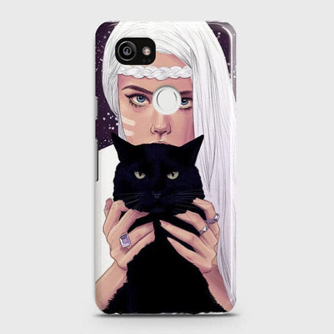 Google Pixel 2 XL - Trendy Wild Black Cat Printed Hard Case With Life Time Colors Guarantee