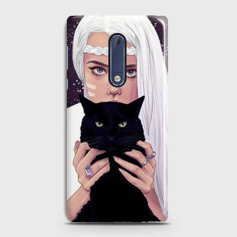 Trendy Wild Black Cat Case For Nokia 5