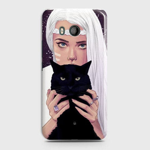 HTC U11 - Trendy Wild Black Cat Printed Hard Case With Life Time Colors Guarantee