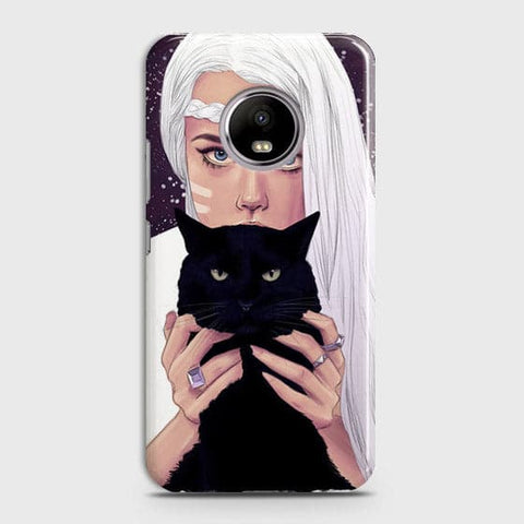 Motorola E4 Plus - Trendy Wild Black Cat Printed Hard Case With Life Time Colors Guarantee