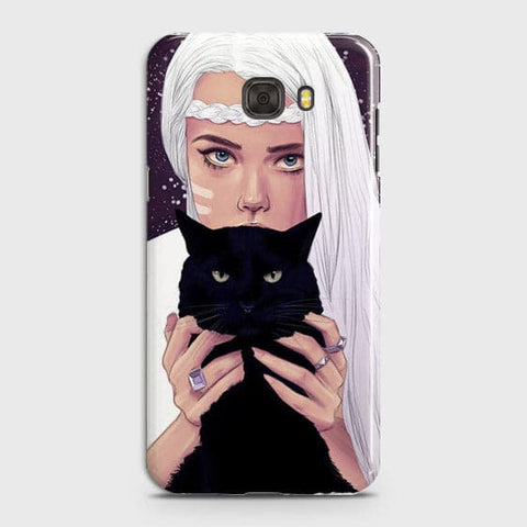 Samsung C7 Pro - Trendy Wild Black Cat Printed Hard Case With Life Time Colors Guarantee
