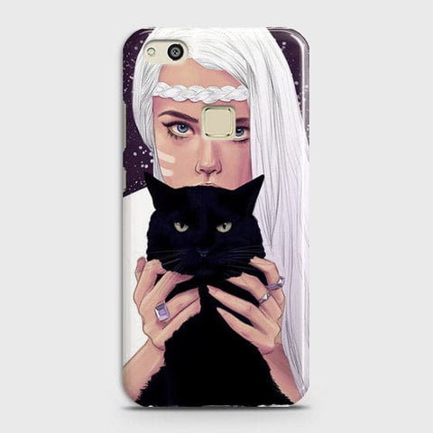 Trendy Wild Black Cat Case For Huawei P10 Lite