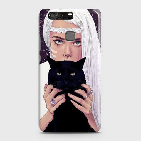 Trendy Wild Black Cat Case For Huawei P9