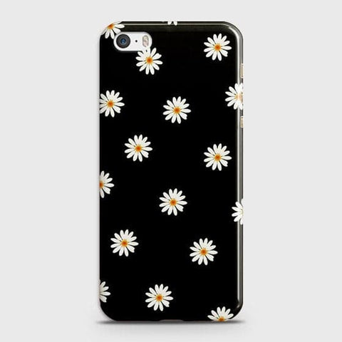 iPhone 5 & iPhone SE Cover - White Bloom Flowers with Black Background Printed Hard Case With Life Time Colors Guarantee