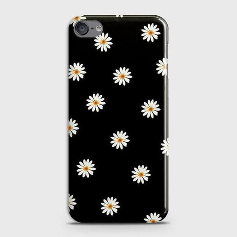 White Bloom Flowers with Black Background Case For iPod Touch 6