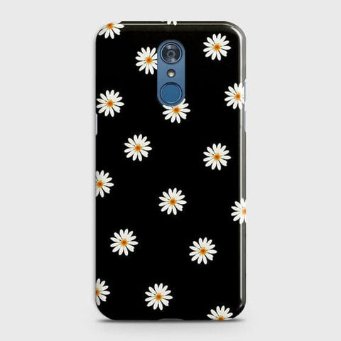 White Bloom Flowers with Black Background Case For LG Q7