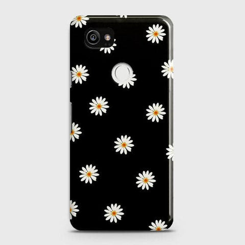 White Bloom Flowers with Black Background Case For Google Pixel 2 XL