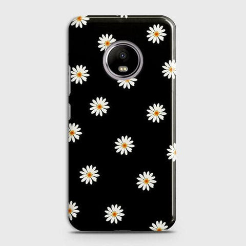 White Bloom Flowers with Black Background Case For Motorola E4 Plus