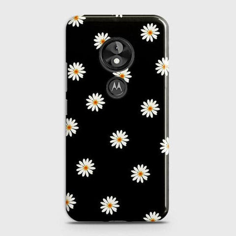 White Bloom Flowers with Black Background Case For Motorola Moto E5 / G6 Play
