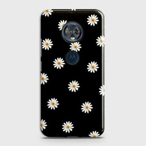 Motorola E5 Plus Cover - White Bloom Flowers with Black Background Printed Hard Case With Life Time Colors Guarantee