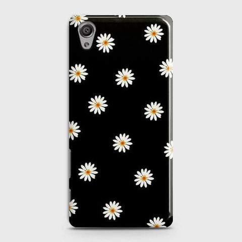 White Bloom Flowers with Black Background Case For Sony Xperia XA