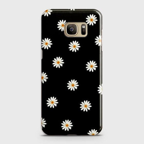 Samsung Galaxy Note 7 Cover - White Bloom Flowers with Black Background Printed Hard Case With Life Time Colors Guarantee