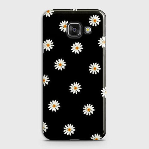 Samsung Galaxy A710 (A7 2016) Cover  - White Bloom Flowers with Black Background Printed Hard Case With Life Time Colors Guarantee