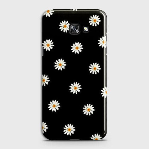 Samsung A3 2017 Cover - White Bloom Flowers with Black Background Printed Hard Case With Life Time Colors Guarantee