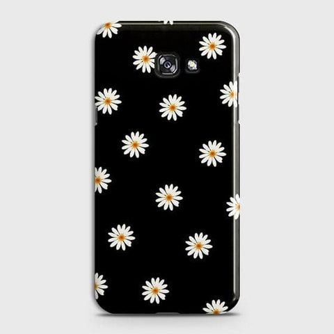Samsung A7 2017 Cover - White Bloom Flowers with Black Background Printed Hard Case With Life Time Colors Guarantee