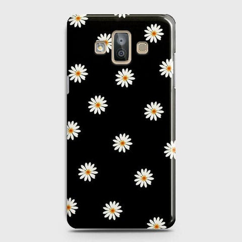 Samsung Galaxy J7 Duo Cover - White Bloom Flowers with Black Background Printed Hard Case With Life Time Colors Guarantee
