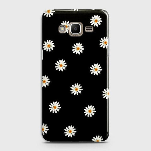 White Bloom Flowers with Black Background Case For Samsung Galaxy J7