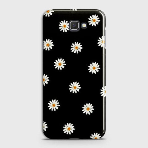 White Bloom Flowers with Black Background Case For Samsung Galaxy J7 Prime