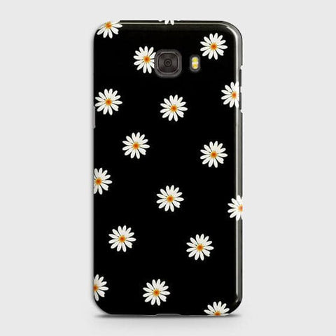 Samsung C7 Pro Cover - White Bloom Flowers with Black Background Printed Hard Case With Life Time Colors Guarantee