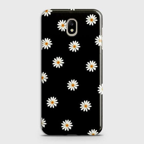 White Bloom Flowers with Black Background Case For Samsung Galaxy J7 2018