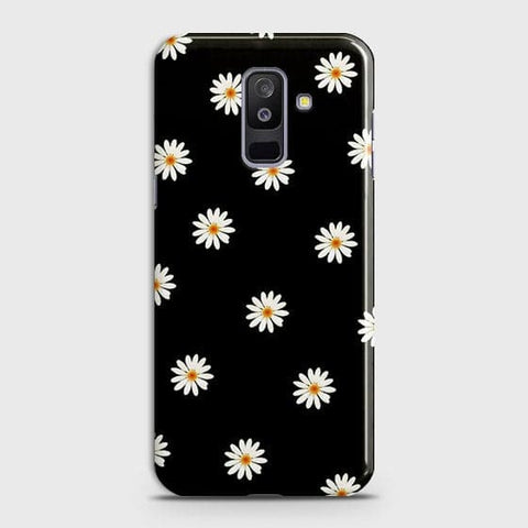 White Bloom Flowers with Black Background Case For Samsung Galaxy J8 2018