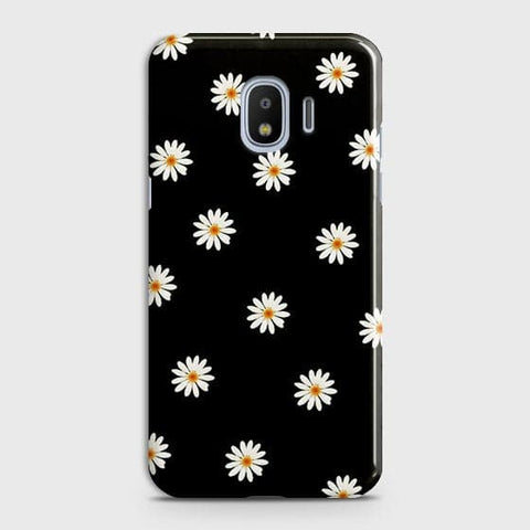 White Bloom Flowers with Black Background Case For Samsung Galaxy J2 Pro 2018
