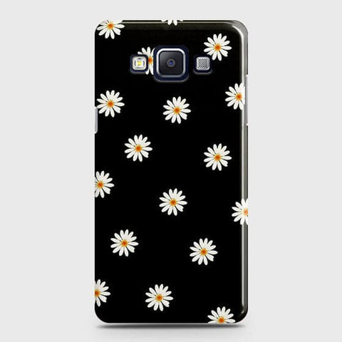 White Bloom Flowers with Black Background Case For Samsung Galaxy E5