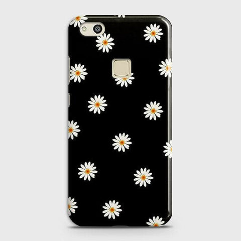 Huawei P10 Lite Cover - White Bloom Flowers with Black Background Printed Hard Case With Life Time Colors Guarantee