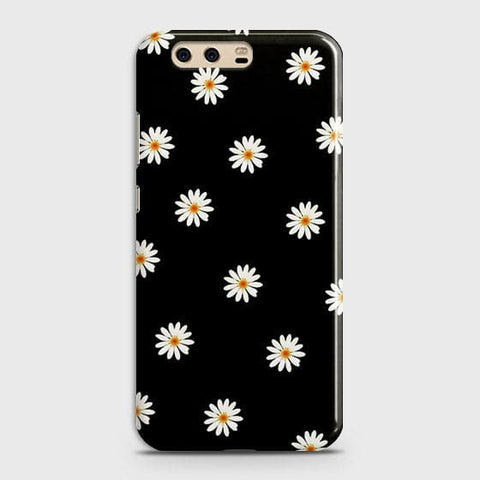White Bloom Flowers with Black Background Case For Huawei P10