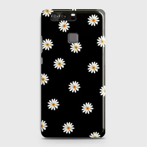 White Bloom Flowers with Black Background Case For Huawei P9