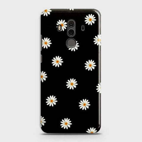 White Bloom Flowers with Black Background Case For Huawei Mate 10 Pro
