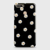 Huawei Y7 2018 Cover - White Bloom Flowers with Black Background Printed Hard Case With Life Time Colors Guarantee