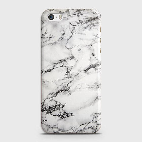 iPhone 5 & iPhone SE - Trendy White Floor Marble Printed Hard Case With Life Time Colors Guarantee