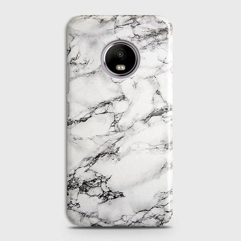 Motorola E4 Plus - Trendy White Floor Marble Printed Hard Case With Life Time Colors Guarantee
