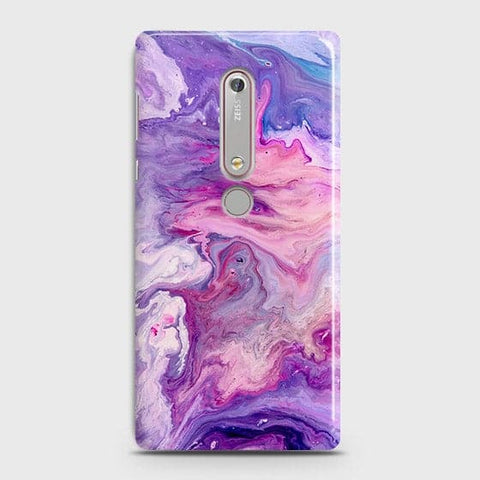 Nokia 6.1 Cover - Chic Blue Liquid Marble Printed Hard Case with Life Time Colour Guarantee