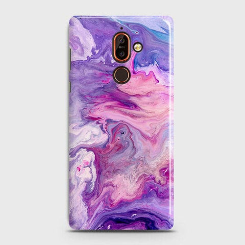 3D Chic Blue Liquid Marble Case For Nokia 7 Plus