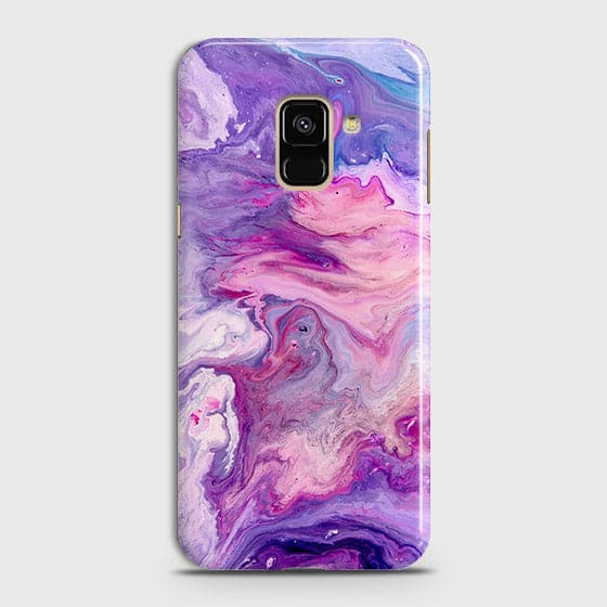 3D Chic Blue Liquid Marble Case For Samsung A8 2018