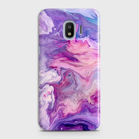 Samsung Galaxy J4 Cover - Chic Blue Liquid Marble Printed Hard Case with Life Time Colour Guarantee