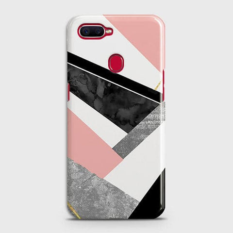 Oppo F9 Cover - Geometric Luxe Marble Trendy Printed Hard Case With Life Time Colour Guarantee