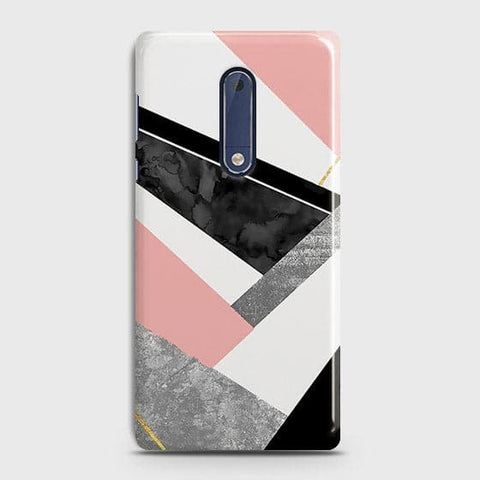 Geometric Luxe Marble Trendy Case For Nokia 5