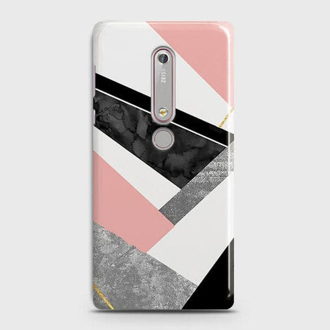 Nokia 6.1 Cover - Geometric Luxe Marble Trendy Printed Hard Case With Life Time Colour Guarantee