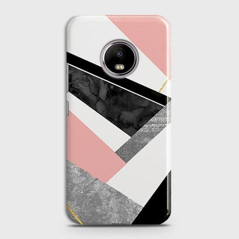 Motorola E4 Plus Cover - Geometric Luxe Marble Trendy Printed Hard Case With Life Time Colour Guarantee