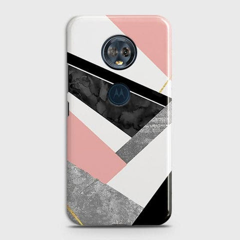 Motorola E5 Plus Cover - Geometric Luxe Marble Trendy Printed Hard Case With Life Time Colour Guarantee