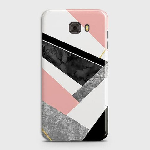 Samsung C7 Cover - Geometric Luxe Marble Trendy Printed Hard Case With Life Time Colour Guarantee