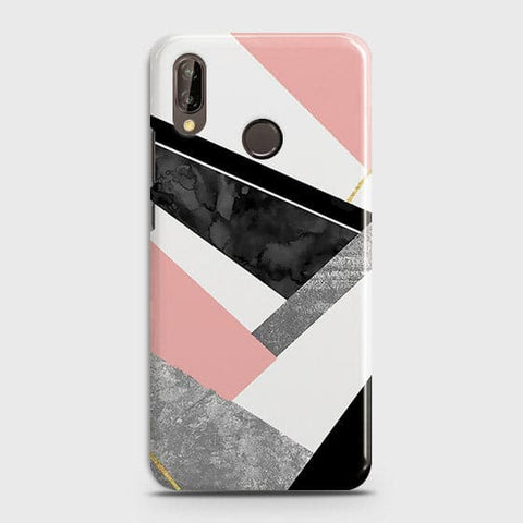 Huawei P20 LiteM Cover - Geometric Luxe Marble Trendy Printed Hard Case With Life Time Colour Guarantee