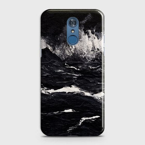 LG Q7 Cover -  Black Ocean Marble Trendy Printed Hard Case With Life Time Colour Guarantee