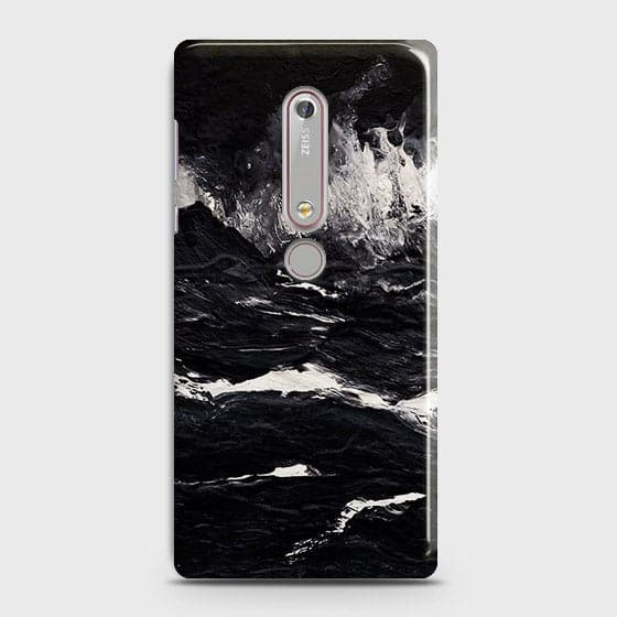 3D Black Ocean Marble Trendy Case For Nokia 6.1