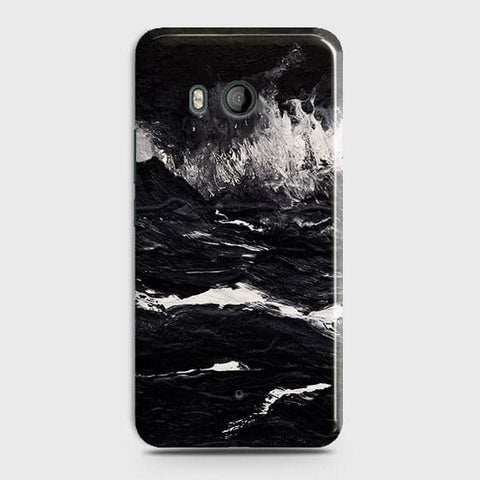 HTC U11 -  Black Ocean Marble Trendy Printed Hard Case With Life Time Colour Guarantee